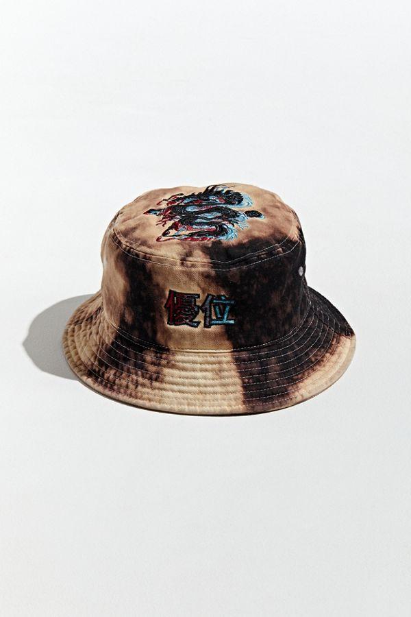 Embroidered Dragon Bleach Dyed Bucket Hat Bleach Dye Bucket Hat Fashion Hats