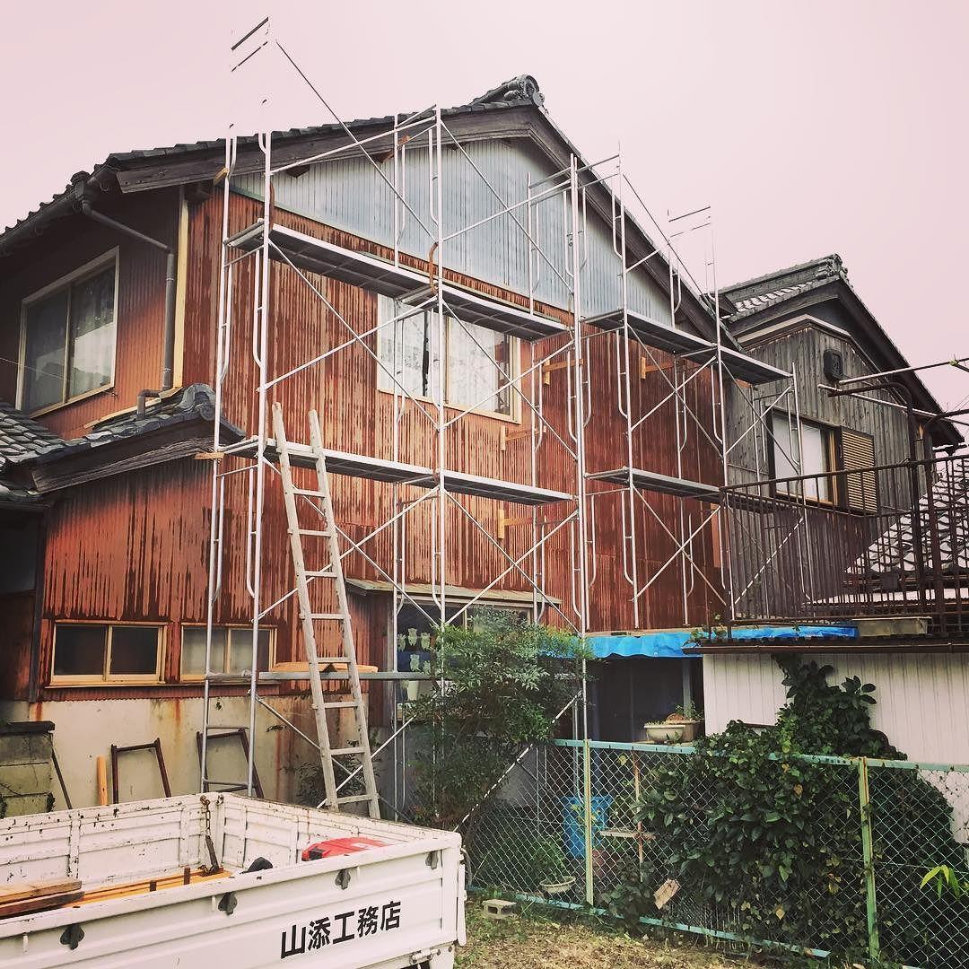 外壁施工 焼杉板を張るための足場組立 外壁 外壁工事 日野町 滋賀
