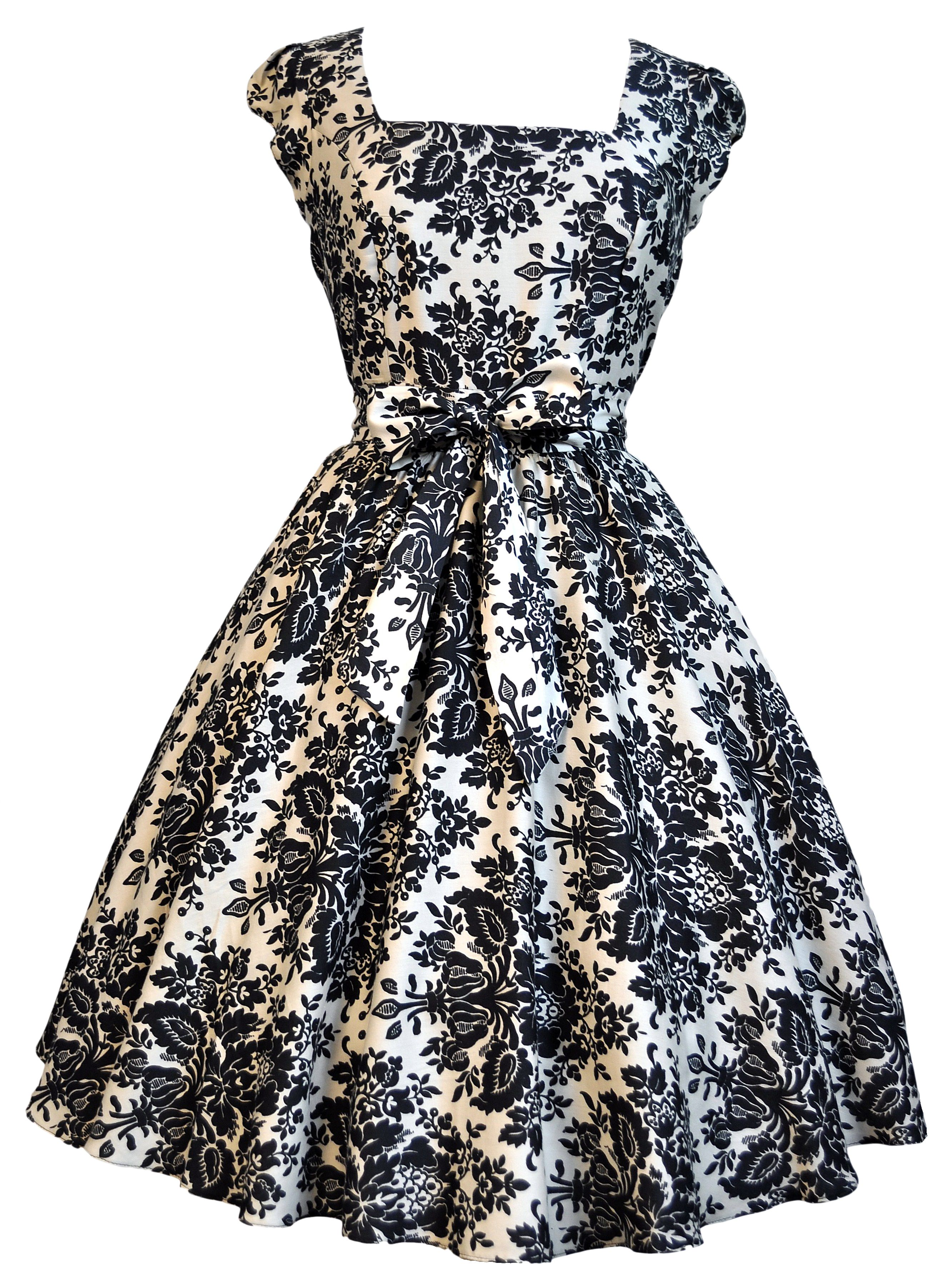 Damask delight swing dress s style flared skirt and bodice