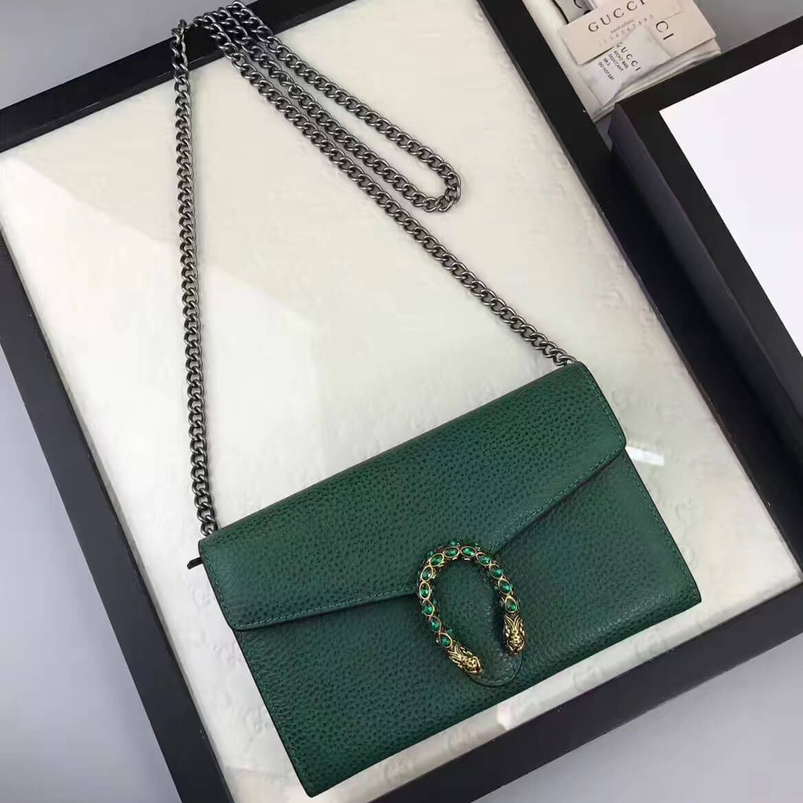 a41bde42fba Gucci Dionysus Leather Mini Chain Bag 401231 Green