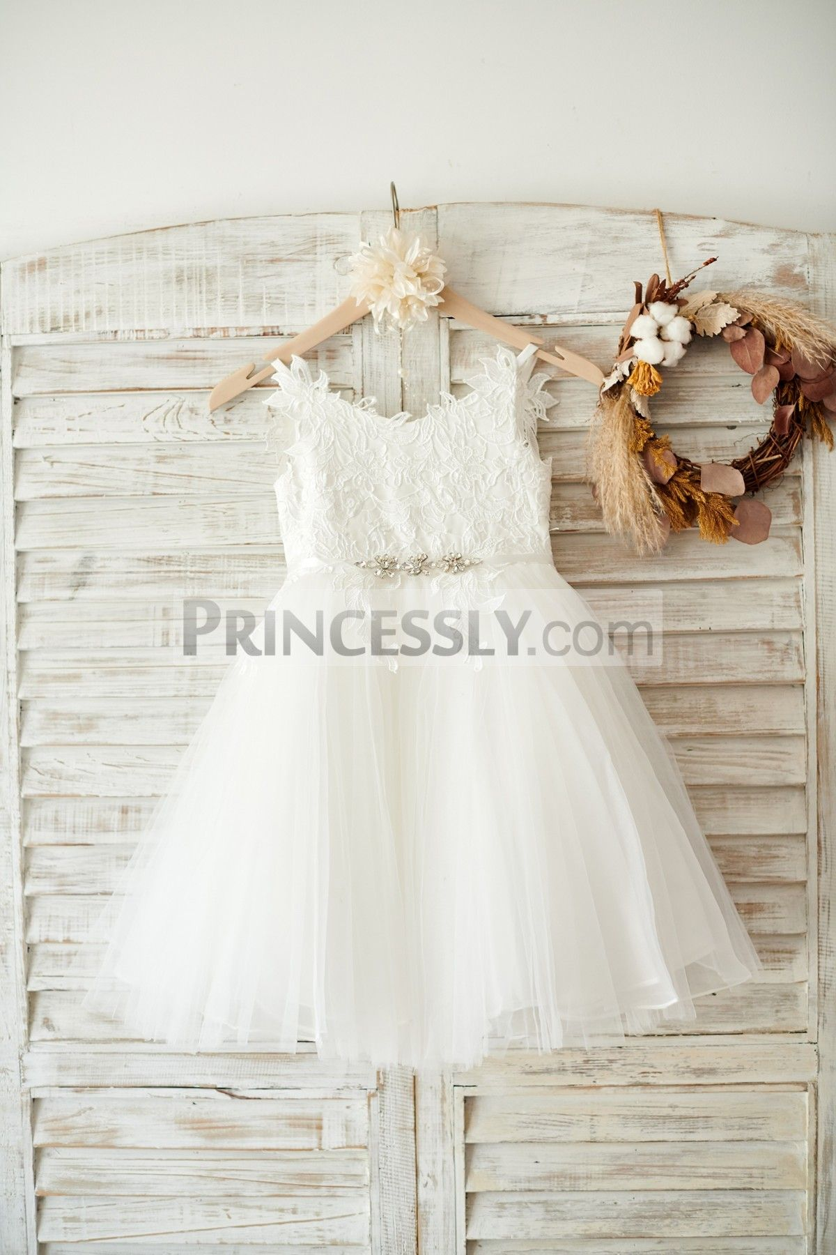 Pearl belt for wedding dress  Ivory lace Tulle Spaghetti straps Wedding Flower Girl Dress with