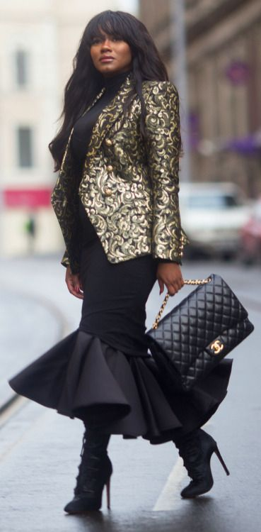 Balmain Blazer, AQ AQ dress, Chanel Bag, Wolford sheer top, & Alaia Boots