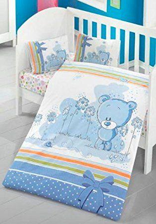 Aminata Kids Süße Babybettwäsche Teddybär 100x135 Cm Baumwolle