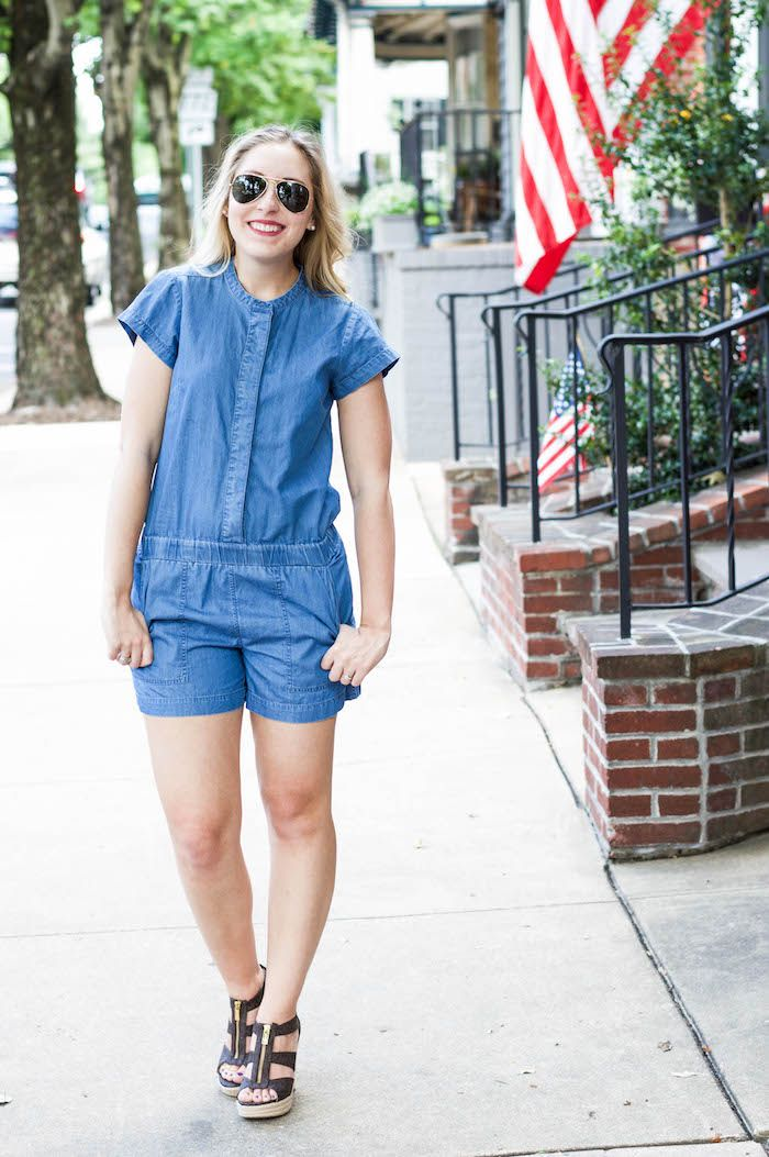 3a64e0f7228e J.Crew Factory chambray romper. Style with wedges or flat sandals. An  outfit you can dress up or down!
