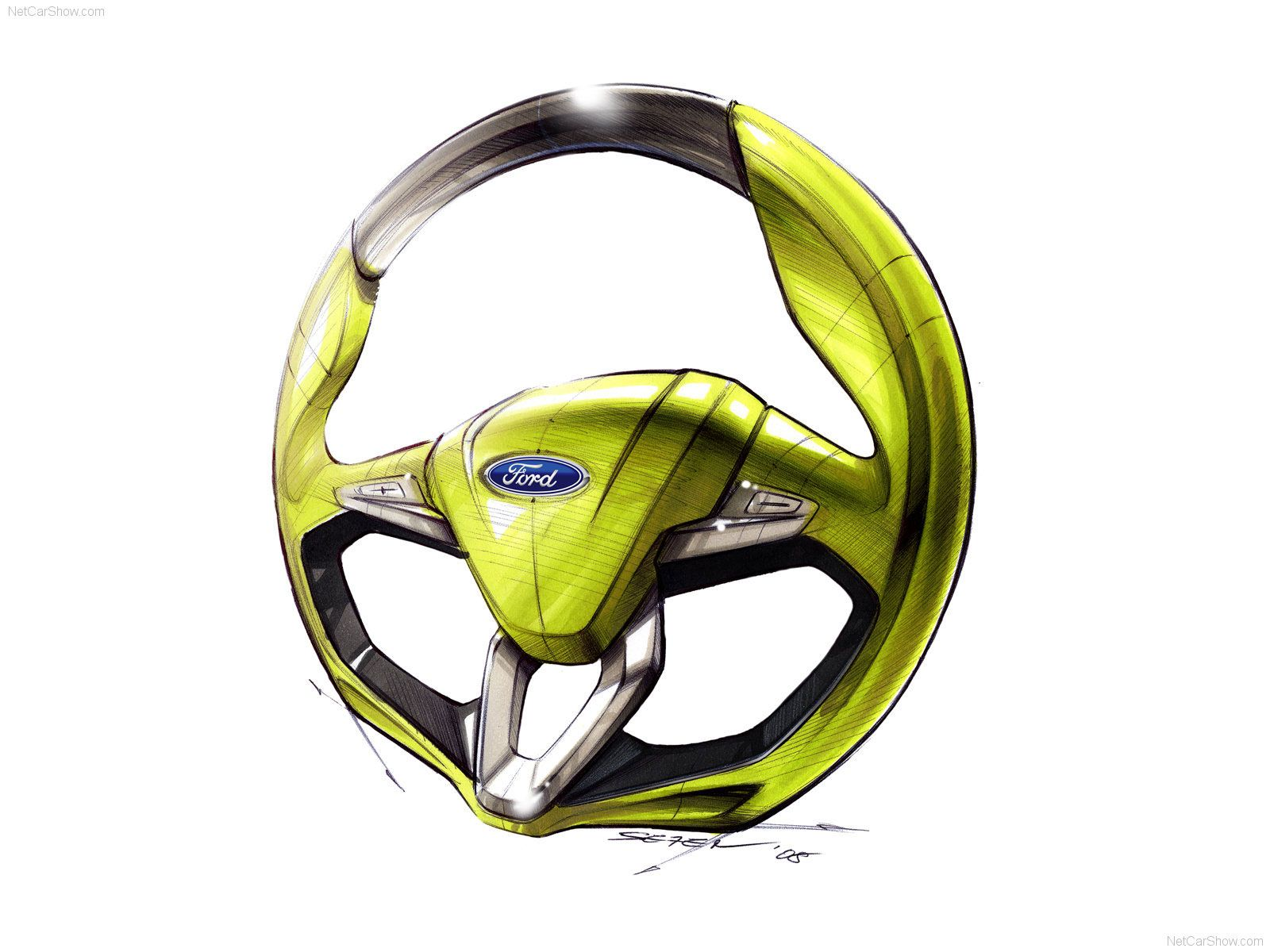 2009 Ford Iosis Max Concept Steering Wheel Design Sketch Dizajn