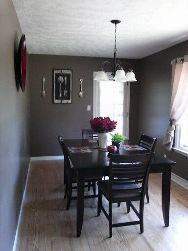 Gray Walls And Red Accents For Dining Room Chateau Powell Entrancing Grey And Red Dining Room Design Inspiration