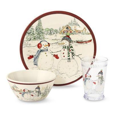 Kids Snowman Melamine Dinnerware Set #williamssonoma  sc 1 st  Pinterest & Kids Snowman Melamine Dinnerware Set #williamssonoma | Christmas ...