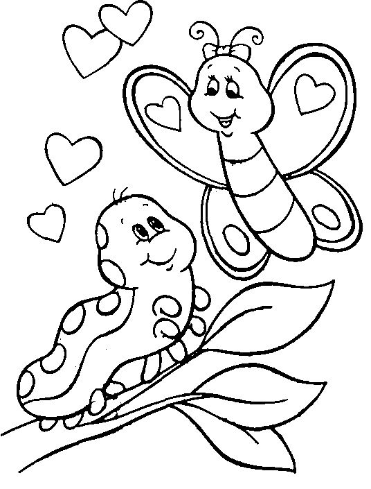 Caterpillar And Butterfly Coloring Page Valentine Coloring Pages