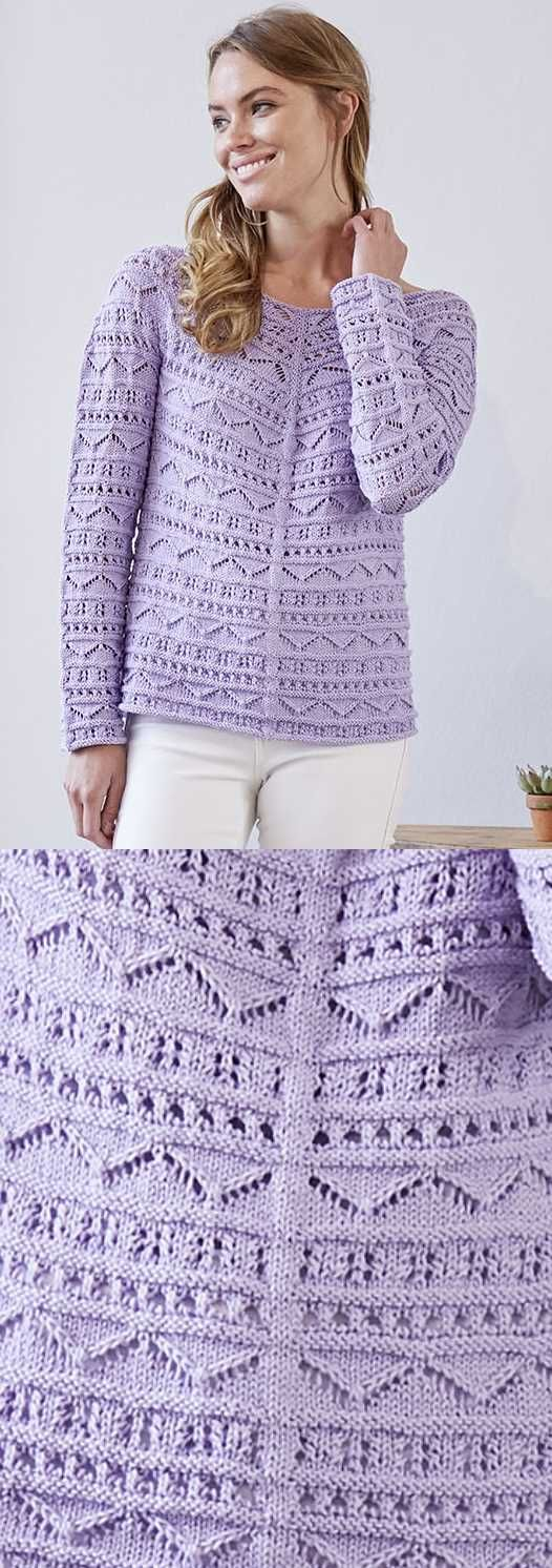 Top Down Shirt With Long Sleeves Free Knitting Pattern Lace Knit