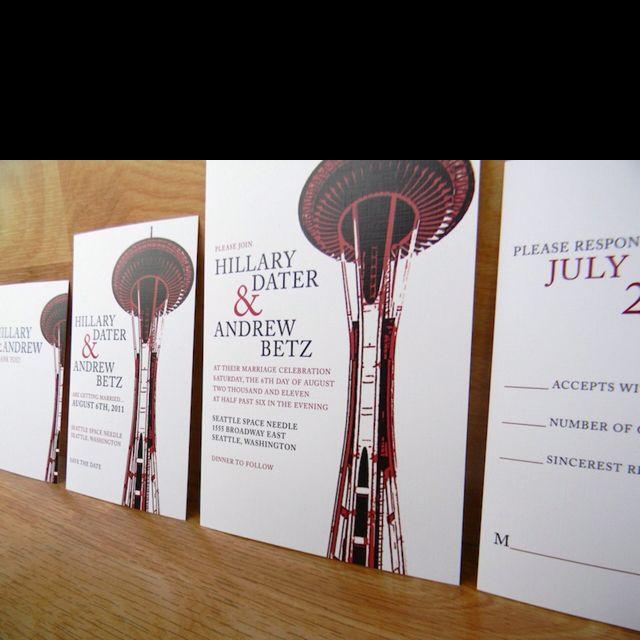 Amazing Seattle Space Needle Washington State wedding invitations