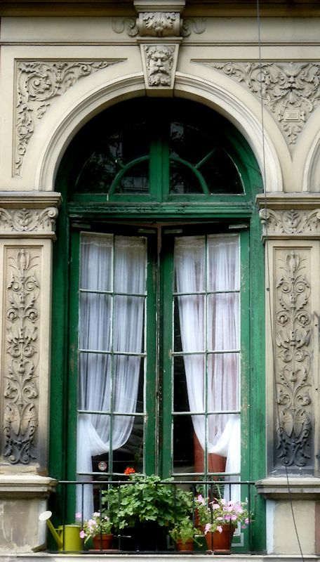 Elegant Photo Of Old Green French Doors On Upper West Side Brownstone, Photo Taken  By Joana