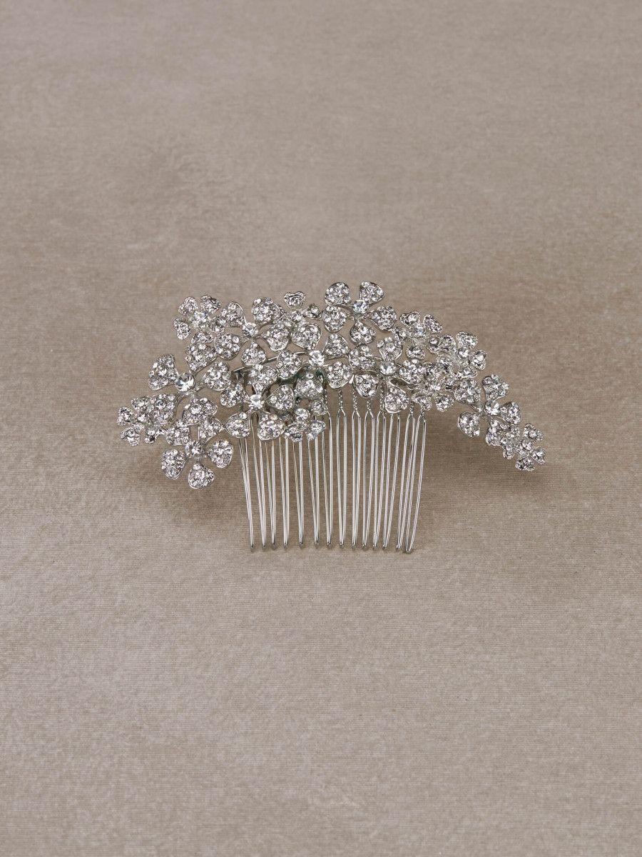 ALELI - Peineta de novia floral en pedrería y plata vieja