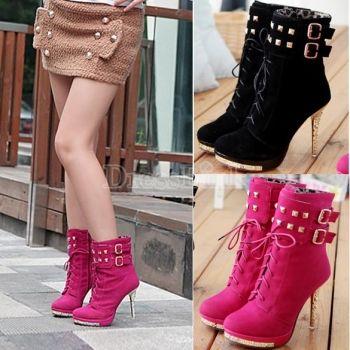 cdacd0dac46c Women Ladies Ankle Boots Rivert Lace up High Heel Platform Pumps Shoes