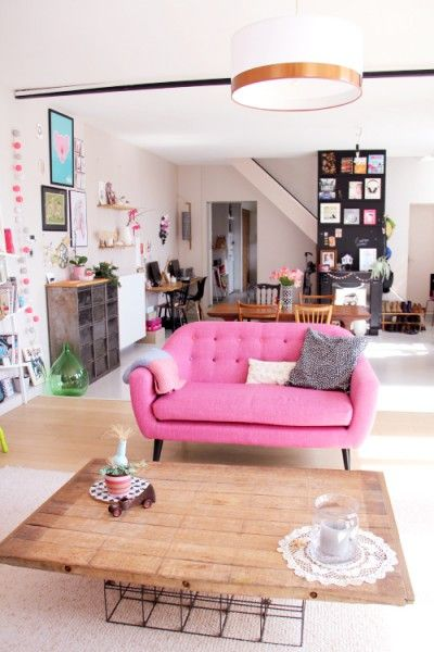 A pop of pink in the living room with the Ritchie 2 Seater Sofa in ...