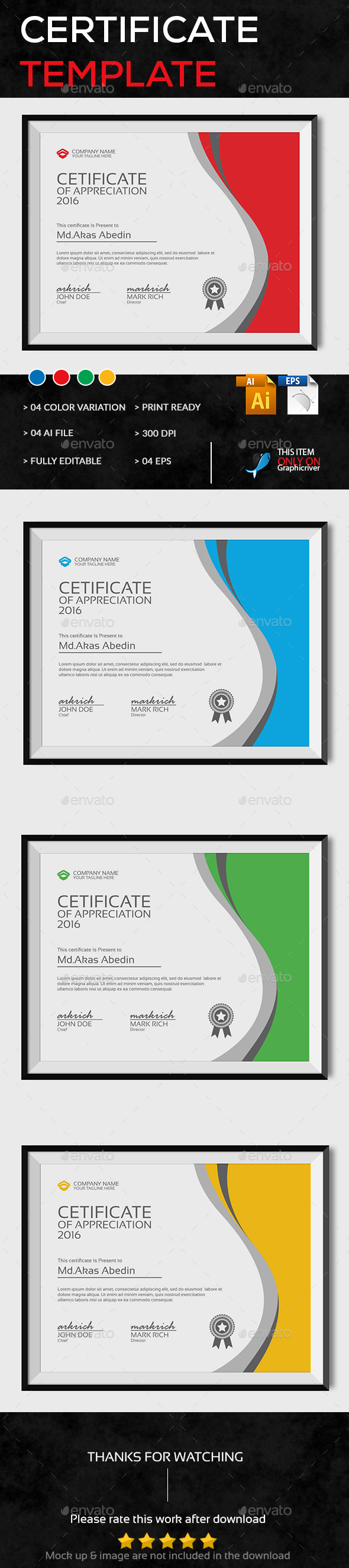 Certificate Template - Certificates Design Template Vector EPS, AI ...
