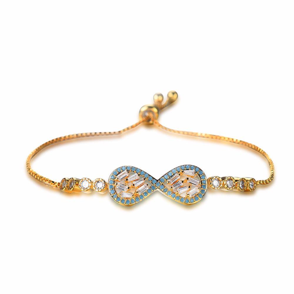 Gold Color Copper AAA Zircon Rhinestone Crystal Simple Bracelet ...