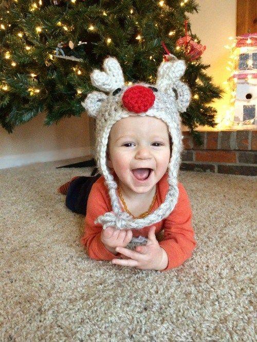 Free Pattern: Crochet Reindeer Hat - Toddler Size | Gorros, Guantes ...