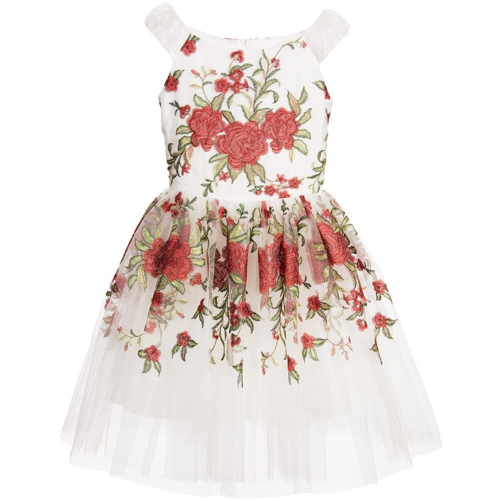 White tulle dress with rose embroidery white tulle dress rose