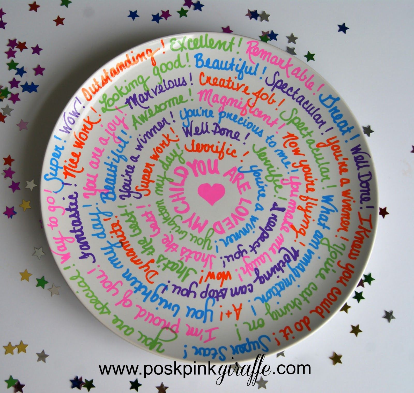 simple celebration plate from posh pink giraffe diy holidays