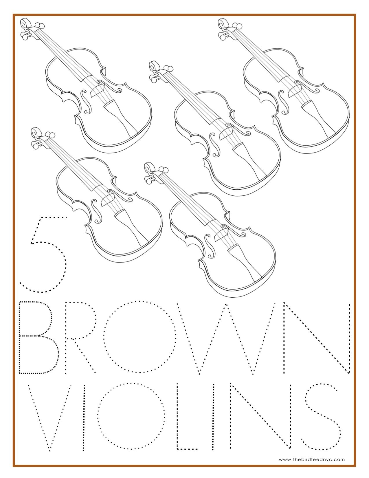 Number Coloring Sheet 5 Brown Violins Preschool