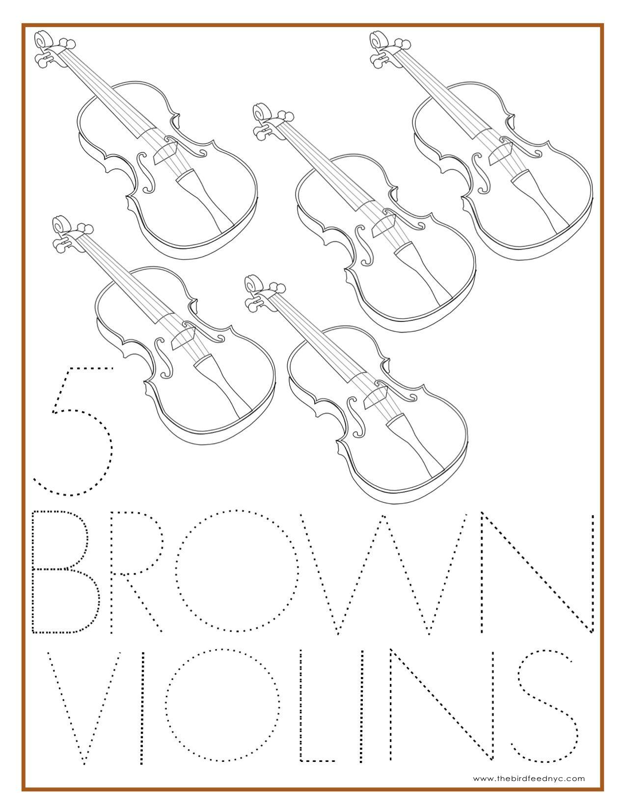 Number Coloring Sheet 5 Brown Violins