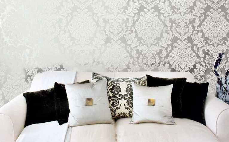 Grigio Damask Wallpaper in Cream and Metallic design by Seabrook Wallcoverings