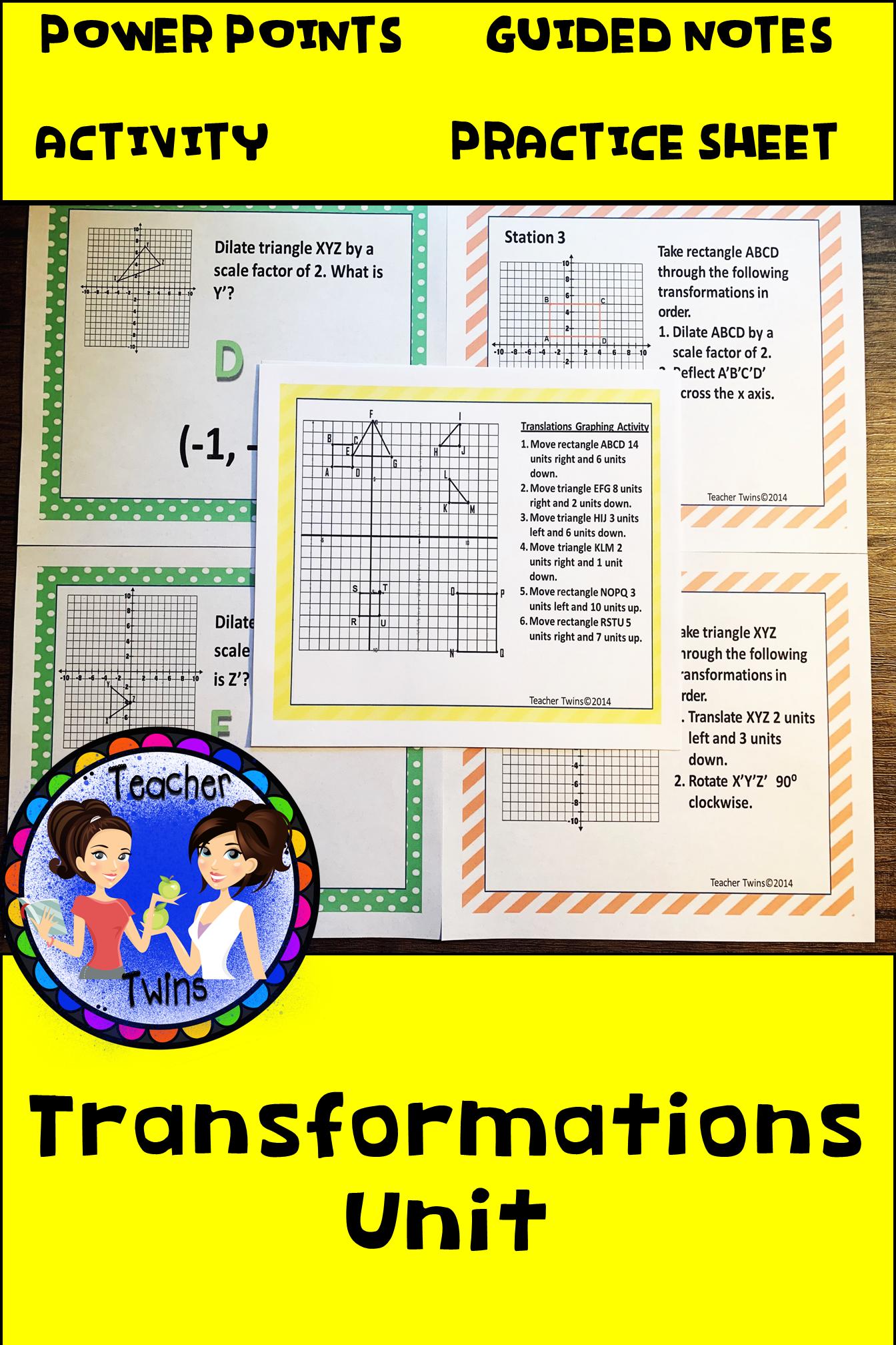 Transformations Unit Common Core Standards 8 G 2 8 G 3 8