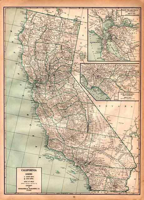 Detailed Map Of California Vintage Print By Catchingcanaries - Detailed map of california