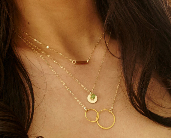 Layered Gold Necklace Set  Simple Dainty Bar by LayeringLove