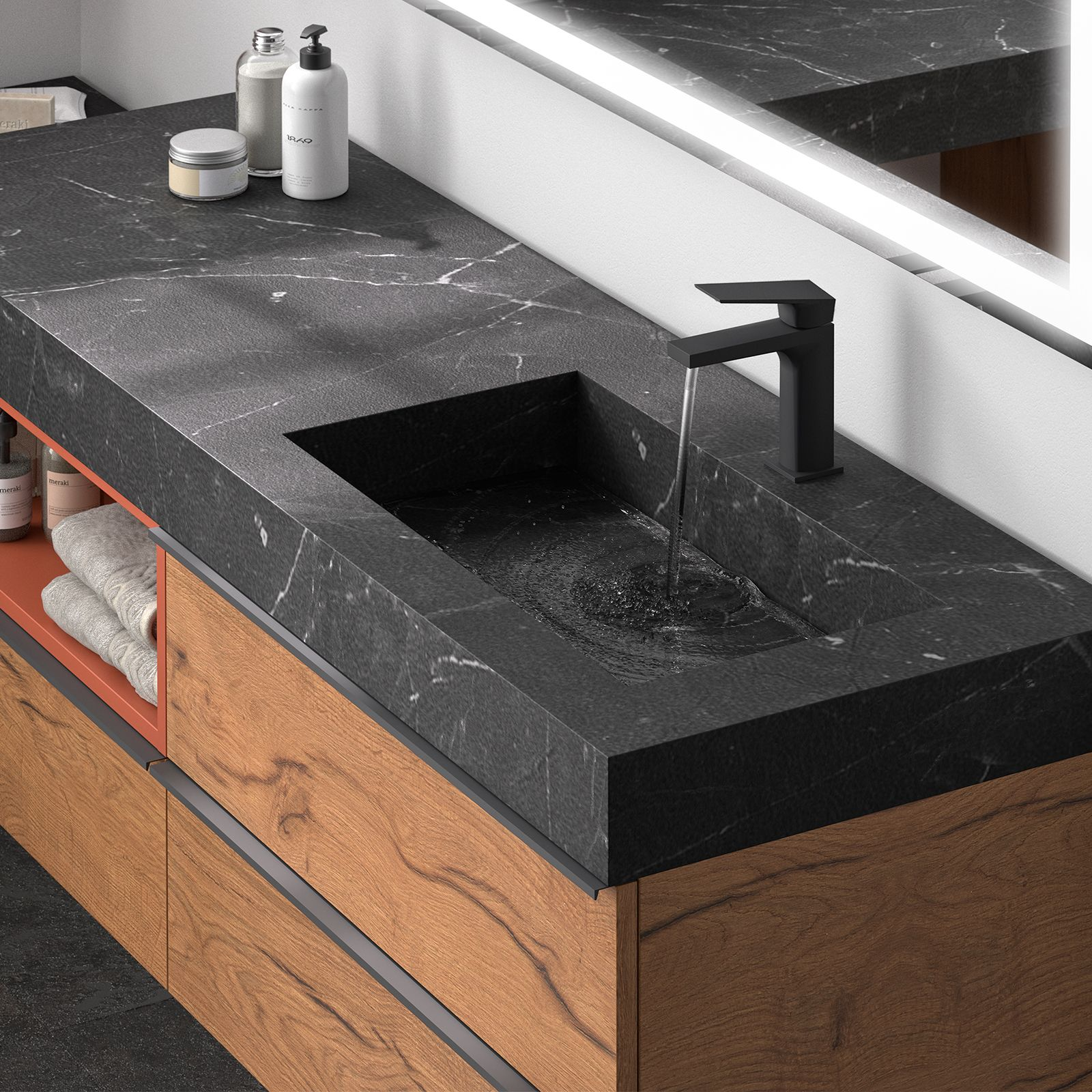 plan vasque sur mesure marbre marquina  Plan vasque, Vasque