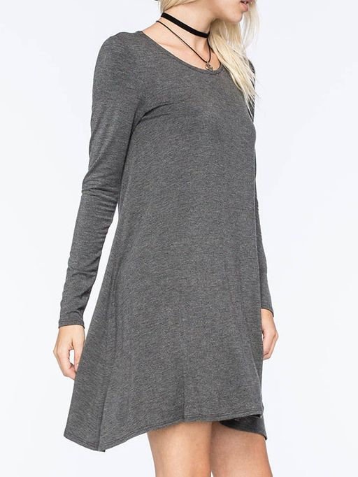 Long Sleeve Shift Grey Dress