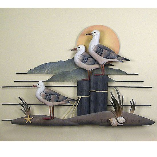 Nautical Sea Gulls Metal Wall Sculpture Metal Wall Sculpture Wall Sculptures Metal Art Decor
