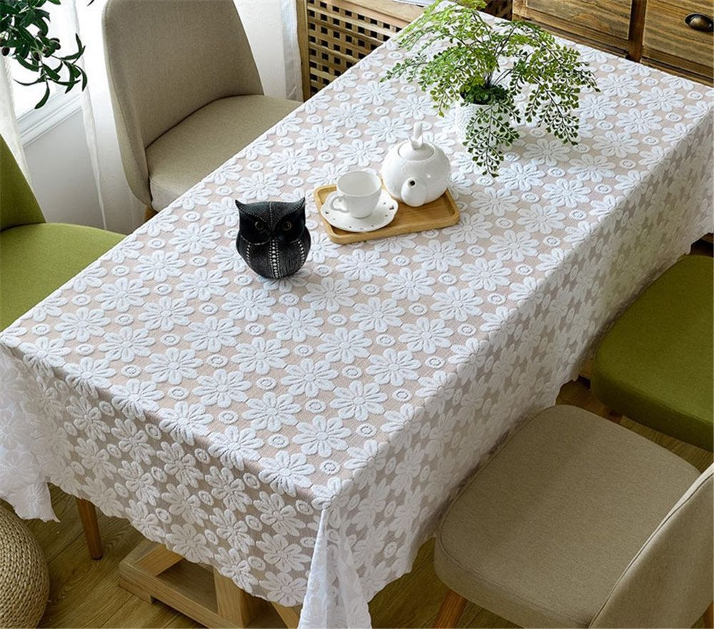 Tablecloth Sunflower White Embossed Hollow Lace Floral Party Home Cover Table Tv Ethomes Floral Tablecloth White Table Cloth Table Cloth
