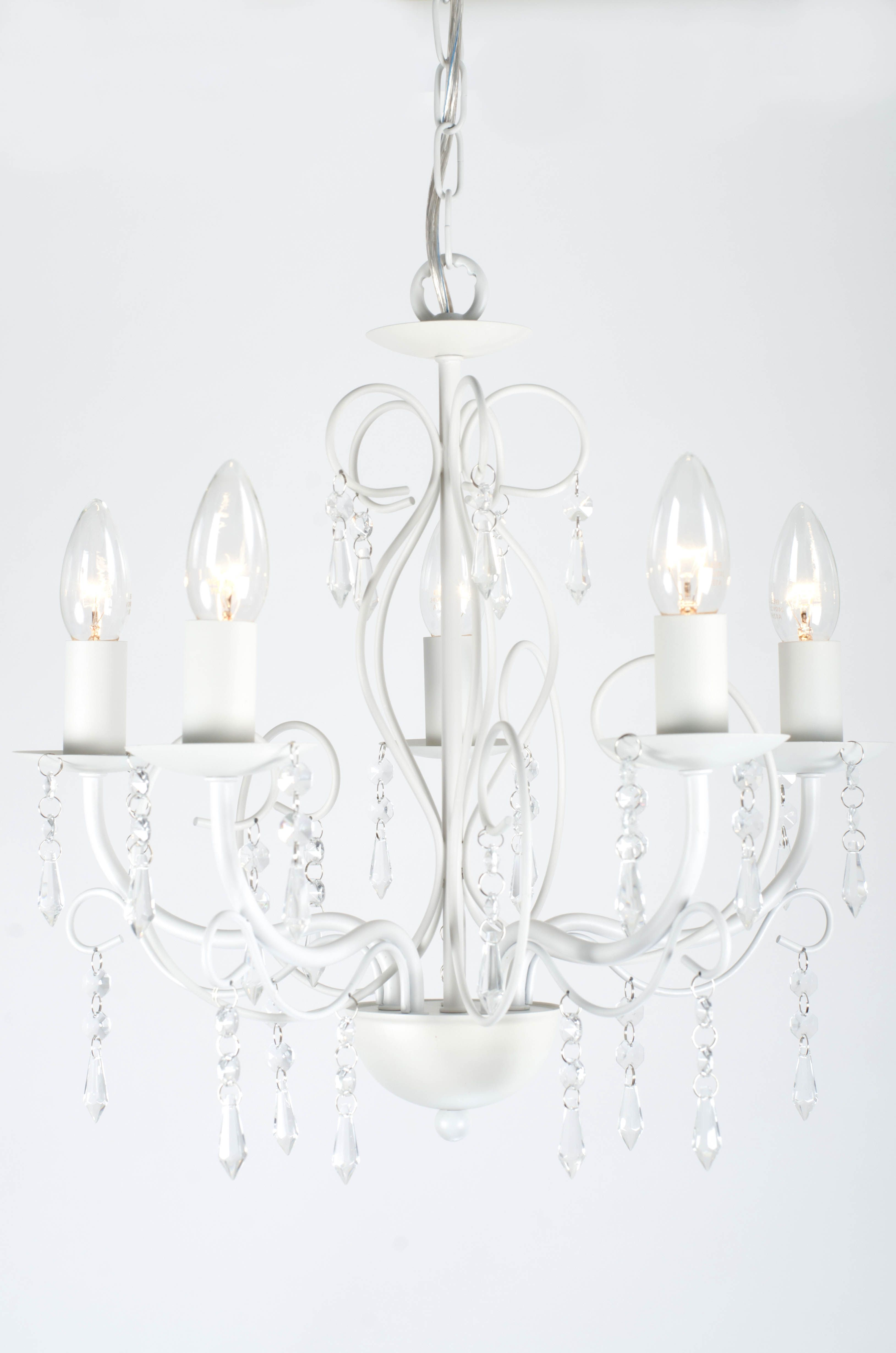 Adorable shabby chic french style chandelier with glass drop adorable shabby chic french style chandelier with glass drop crystals hanging from and intricate white arubaitofo Choice Image