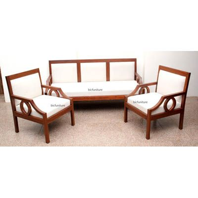 Stylish Teak Wood 3 Seater Sofa For The Living Room By Bic Wooden Sofa Designs Sofa Design Contemporary Sofa Set