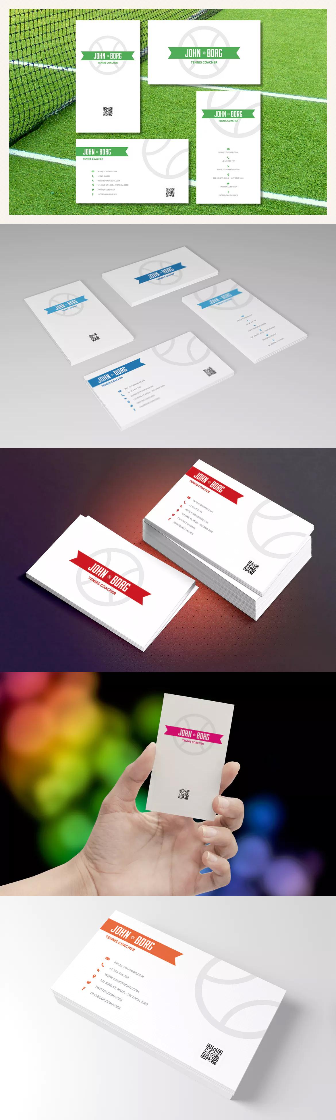 Sport Business Cards - Tennis Template PSD   Business Card Template ...