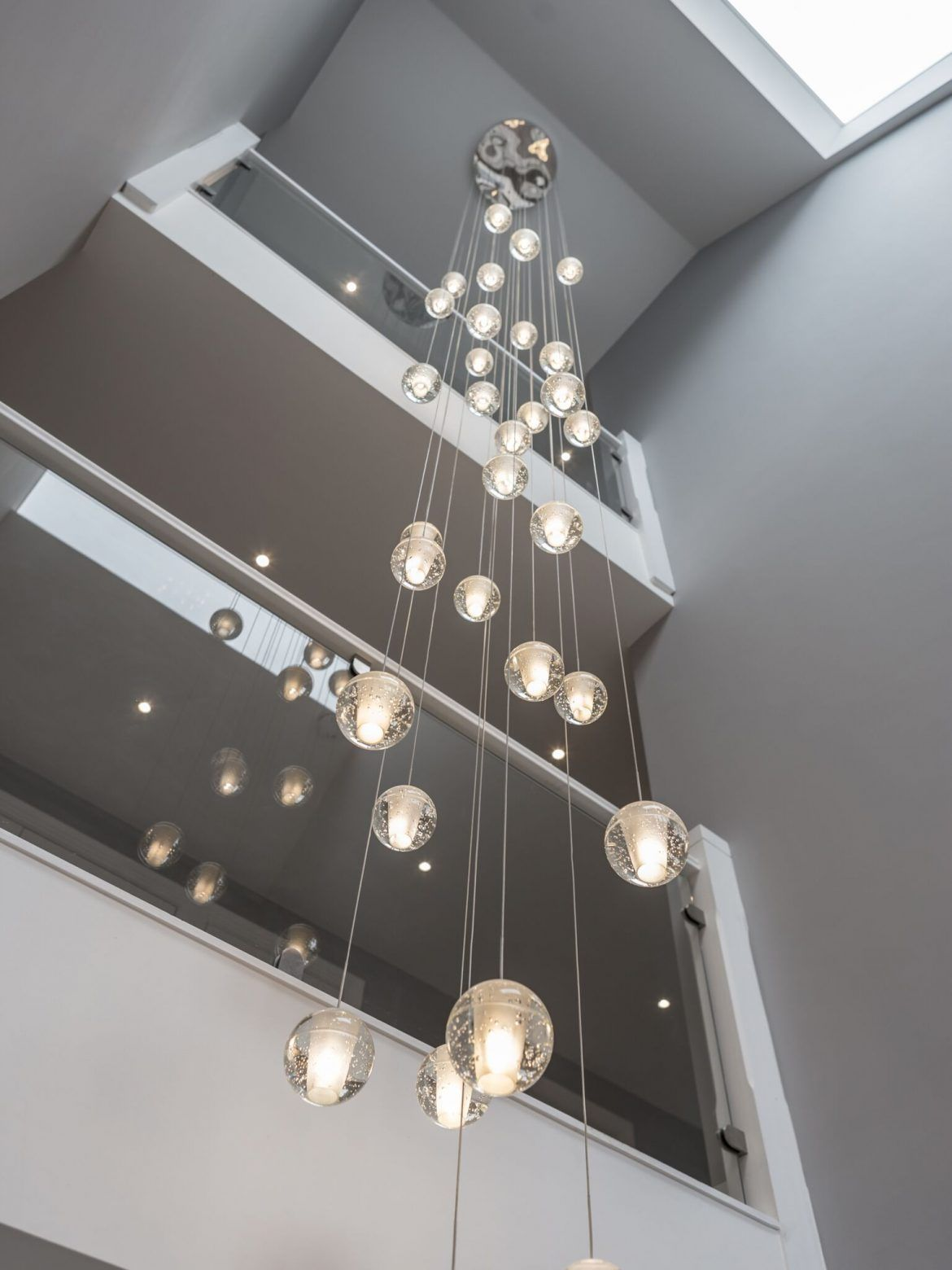 Air Bubble On Display In Our Showroom Lightstyle Interiors Vaulted Ceiling Lighting Modern Glass Chandeliers Glass Chandelier