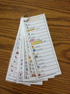 Fantastic First Grade Froggies: Writing Center Word Lists. Would be great for the cart to have the word lists on a ring like this