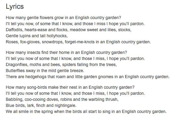 Lyrics For English Country Garden Things For My Wall Pinterest