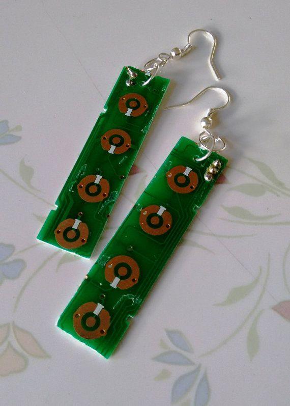 Circuit board earrings by AuntieJazzJewelry on Etsy