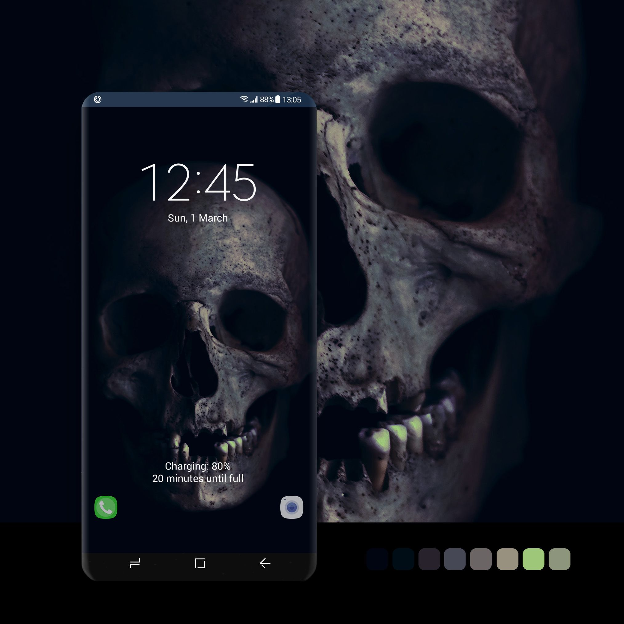Skull In Dark Tones Wallpaper Wallpaper Android Phone