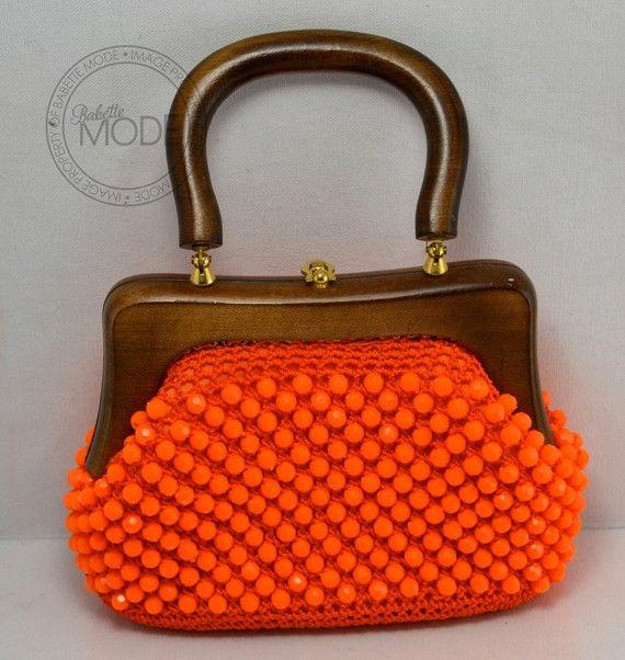 Crochet Beaded Handbag Neon Orange Italian