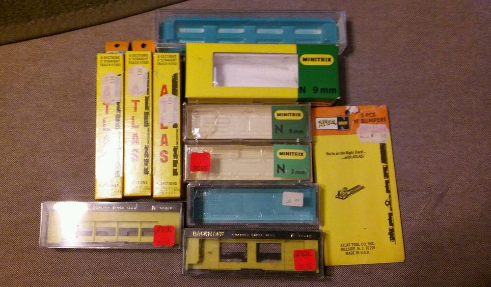 Vintage Lot Atlas RR Rivarossi Atlas Bachmann Minitrix Atlas N Gauge EMPTY Boxs #various