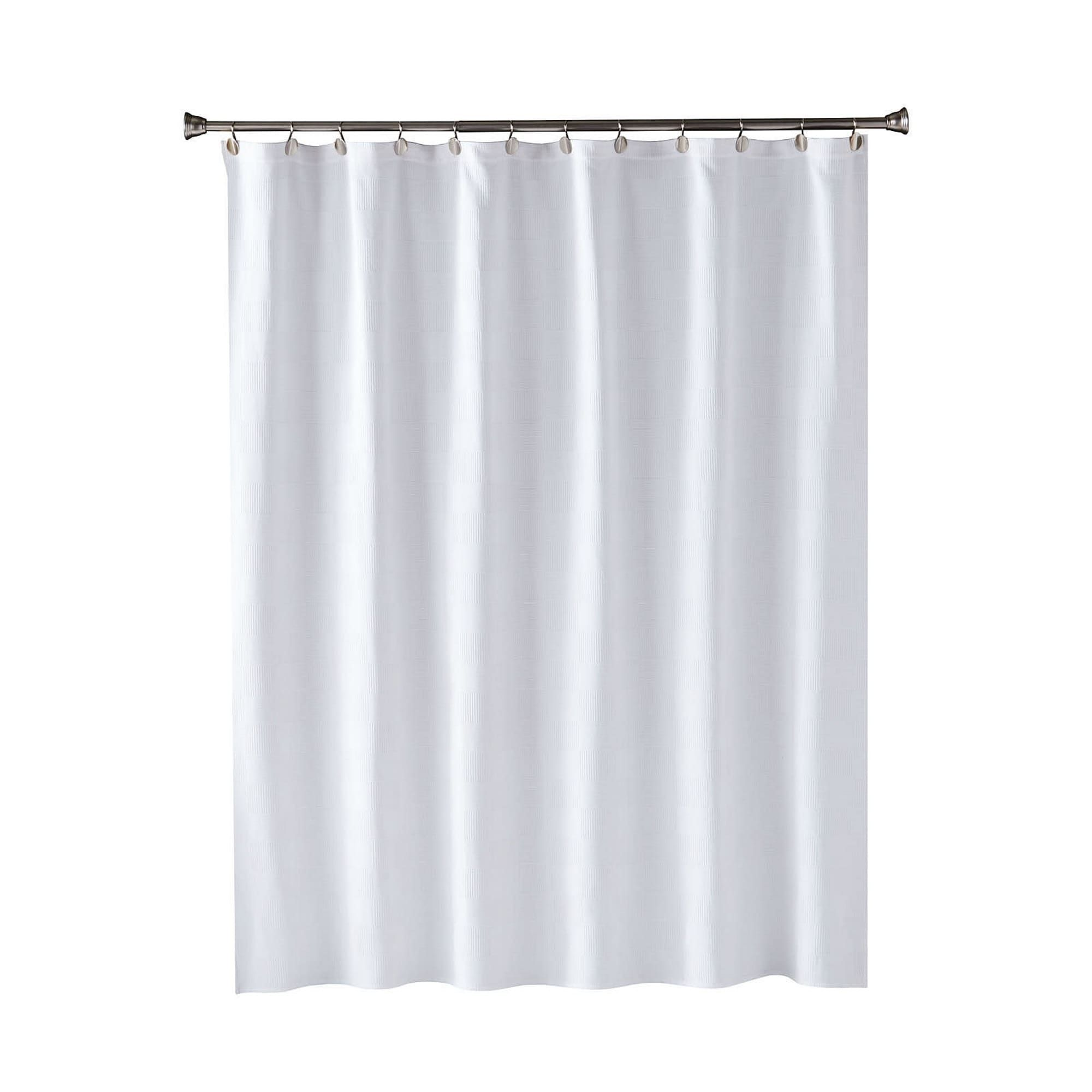 Skl Home Large Basketweave Shower Curtain In White 70 X 72