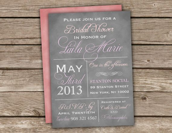 Pink grey bridal shower invitations printed coral brunch pink grey bridal shower invitations printed coral brunch engagement baby couples typography vintage chalkboard rustic kitchen tea 008a filmwisefo Image collections