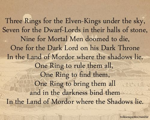 Quot Three Rings For The Elven Kings Under The Sky Seven For