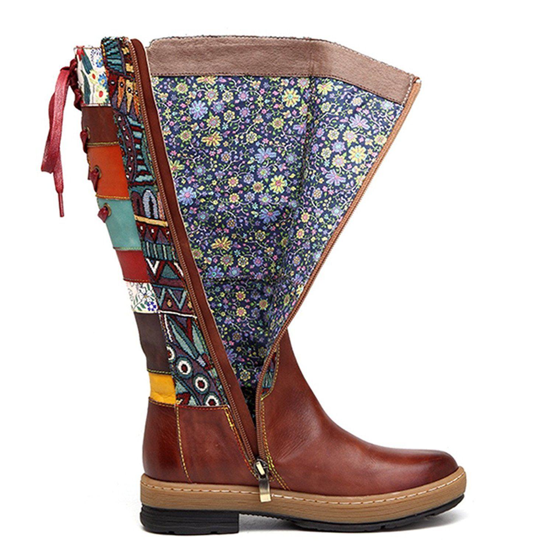 AmazonSmile   Socofy Leder Splicing Knee Stiefel, Damens's Bohemian Splicing Leder ... 80b99f