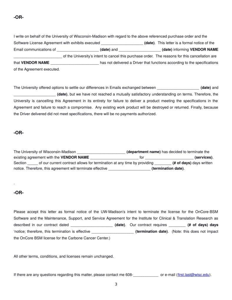 Termination Letter Templates Free Samples Examples Formats Vendor