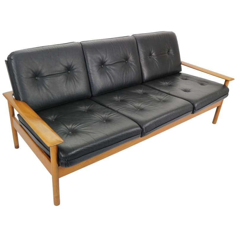 Mid Century Modern Three Seat Leather Sofa Scandinavian Design 1960s For Sale With Images Leather Sofa Modern Leather Lounge Chair Modern Leather Sofa
