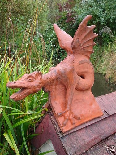Dragon Roof Finial Angled Ridge Tile Kings Head Dragon Finials Stone Ornaments Ridge Tiles